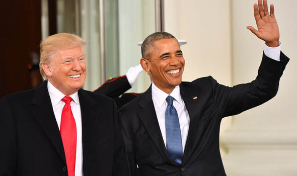 Trump and obama at White House