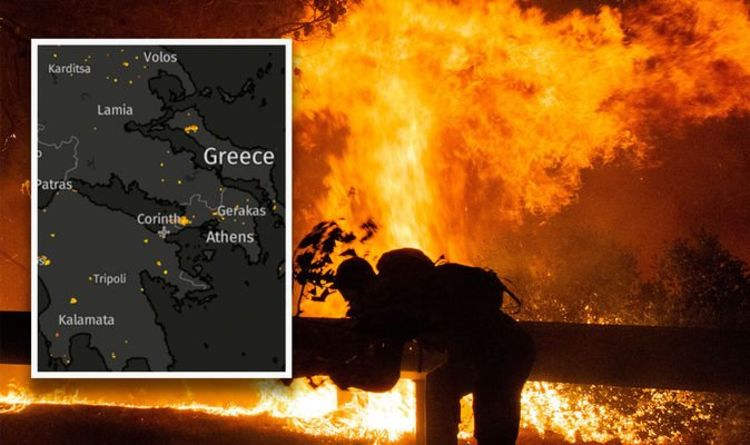 Click on a marker for more info. Greece Fires Live Map 56 Active Fires As Tourists Evacuated Where Are The Greek Fires World News Express Co Uk