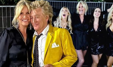 Penny Lancaster, 50, shows off endless legs in mini dress for cosy snap with husband Rod