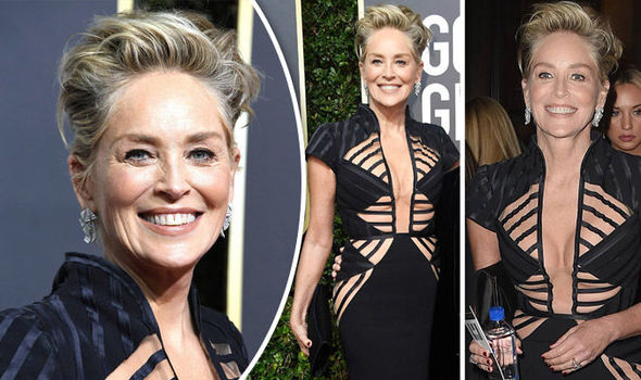 Image result for sharon stone golden globes 2018
