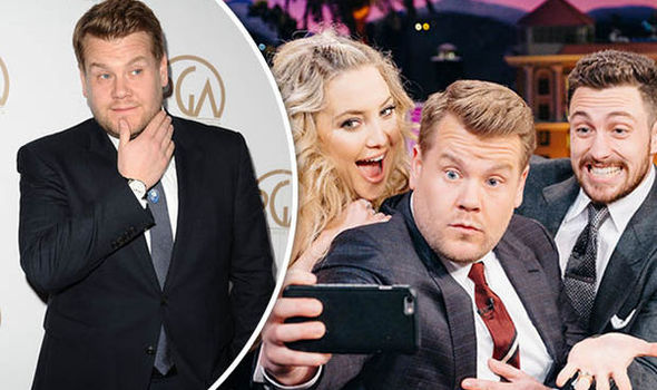 James Corden takes a selfie on his chat show