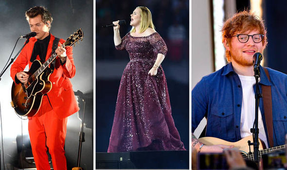 Harry Styles, Adele and Ed Sheeran