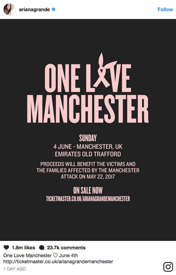 Ariana Grande to perform at One Love Manchester