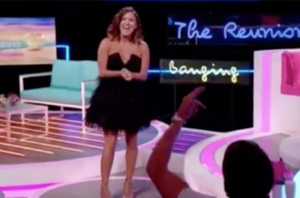 Caroline Flack wardrobe malfunction body tape Love Island reunion
