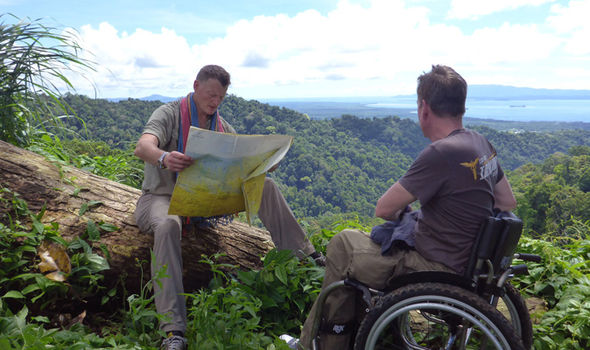 Frank Gardner and Benedict Allen trek through the jungle