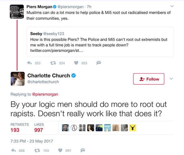 Piers Morgan Charlotte Church Twitter spat