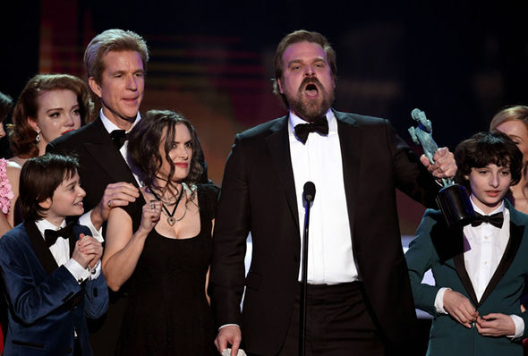 Stranger Things cast on stage