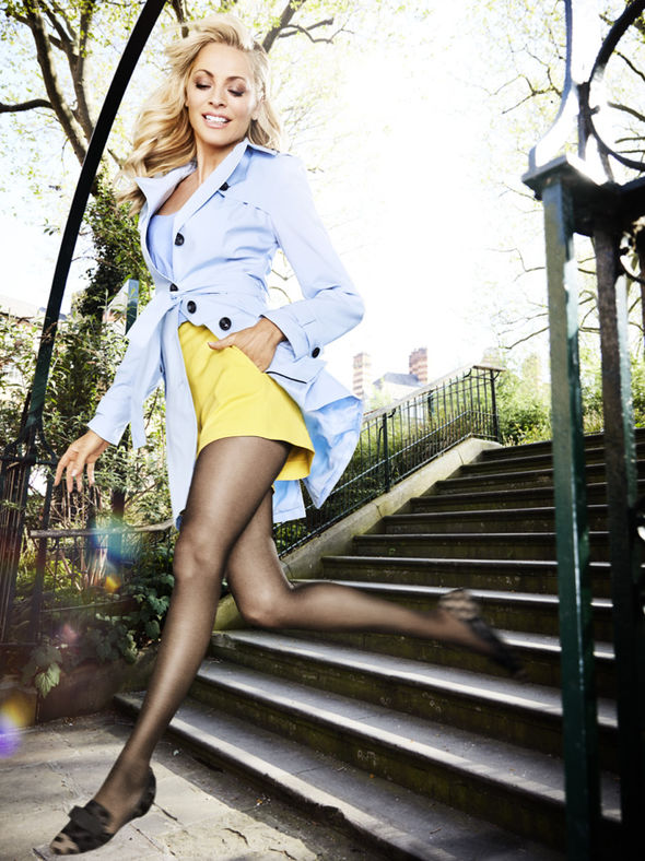 Tess Daly in miniskirt and tights