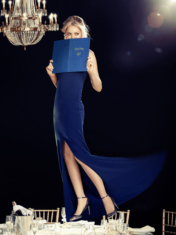Tess Daly in navy gown