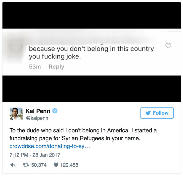 The message that prompted actor Kal Penn to help raise $550,000 for Syrian refugees