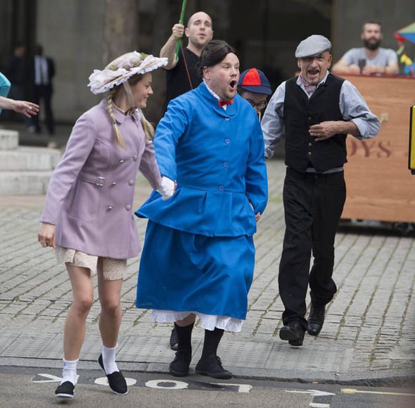 James Corden dressed as Mary Poppins