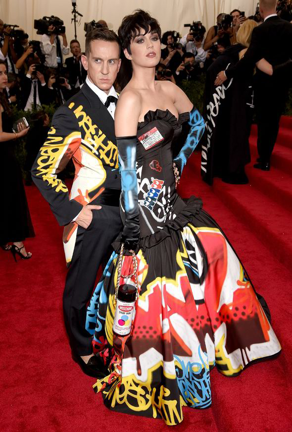 Jeremy Scott and Katy Perry played up to the cameras as they arrived
