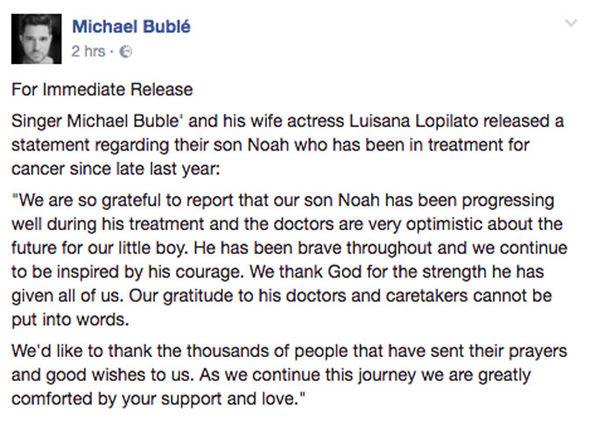 Michael and his wife released a statement via his official Facebook page today