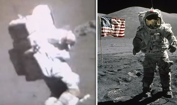 MOON HOAX LATEST: Does NASA astronaut 'held up by cable ...