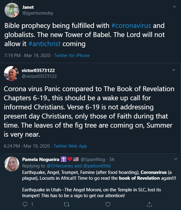 Coronavirus prophecy: Tweets about the end times