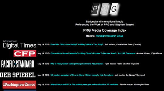 International UFO media coverage on the Paradigm Research Group website