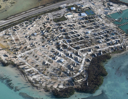 Overturned trailer homes are seen in the aftermath of Hurricane Irma on September 11, 2017 over the Florida Keys, Florida [Getty Images]