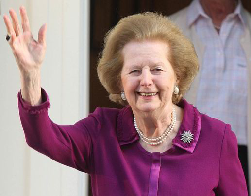 Margaret Thatcher on her 84th birthday