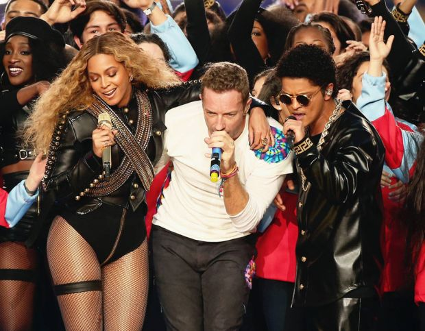 Chris Martin, Beyonce and Bruno Mars