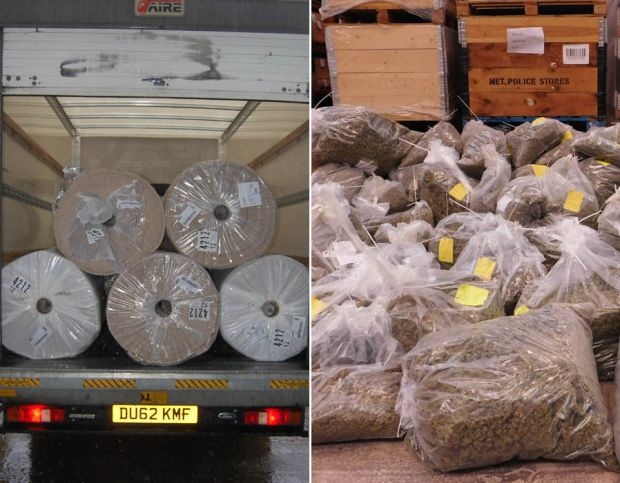 A cannabis smuggling gang shipped £20 million worth of the class B drug into Britain in rolled up carpets