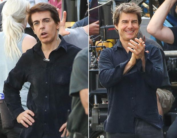 Tom Cruise and his body double on the set of his new film 'The Mummy' in London, Englan