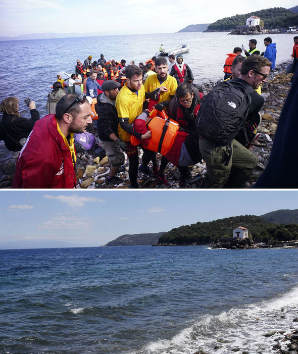 Aid workers help migrants up the shore after making the crossing from Turkey to the Greek island of Lesbos on November 16, 2015 in Sikaminias, Greece