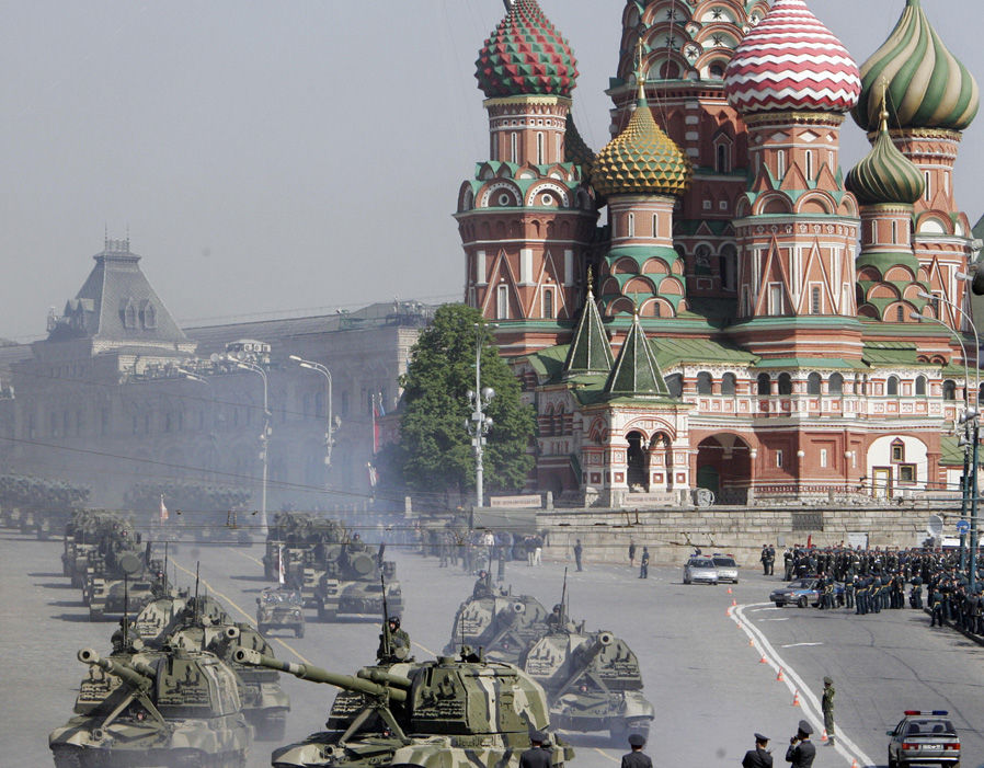 Russian tanks leave the Red square during the rehearsal general for the Victory Day military parade