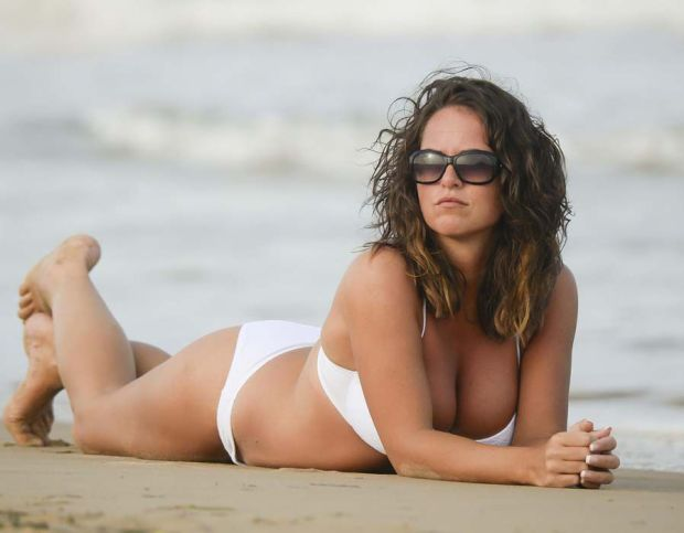 Karen Danczuk relaxes on the sand