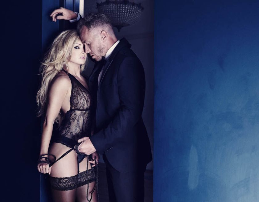 Ola Jordan sizzles in sexy black lingerie and stockings with suited husband James