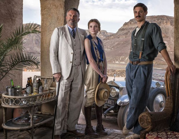 Sam Neill as Lord Carnarvon, Amy Wren as Lady Evelyn, and Max Irons as Howard Carter
