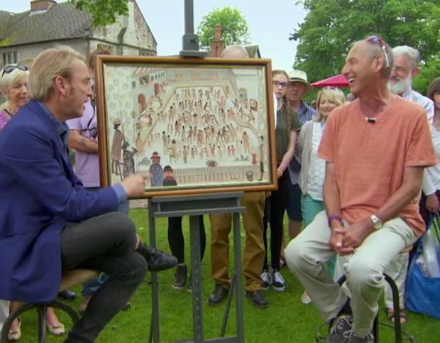 Antiques Roadshow viewers were left blushing after a man brought a painting of an 'The Nudist Colony Annual Dinner Dance' to be valued by expert Phillip Mould. Philip valued the painting between £5000 and £6000