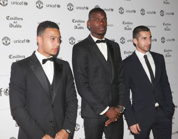 Pogba is flanked by out-of-favour wingers Memphis Depay and Henrih Mkhitaryan
