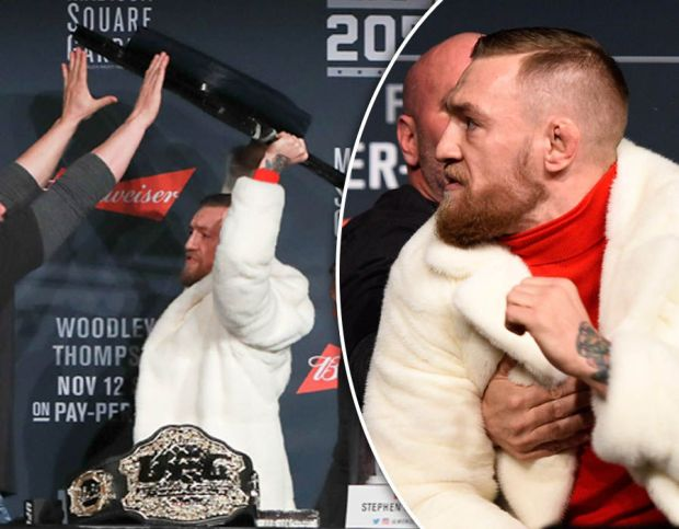 UFC 205: McGregor tries to throw chair at Alvarez