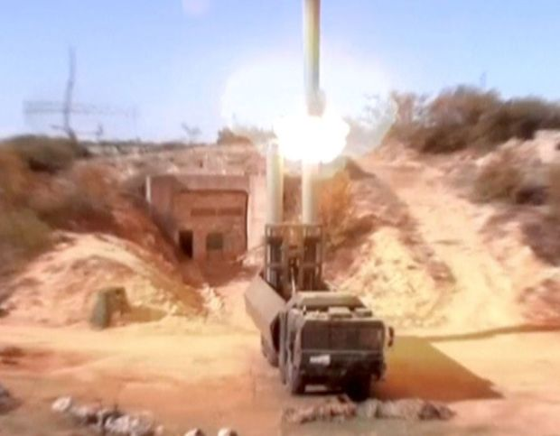Still image shows Russian Bastion coastal missile launchers launching Oniks missiles at unknown location in Syria