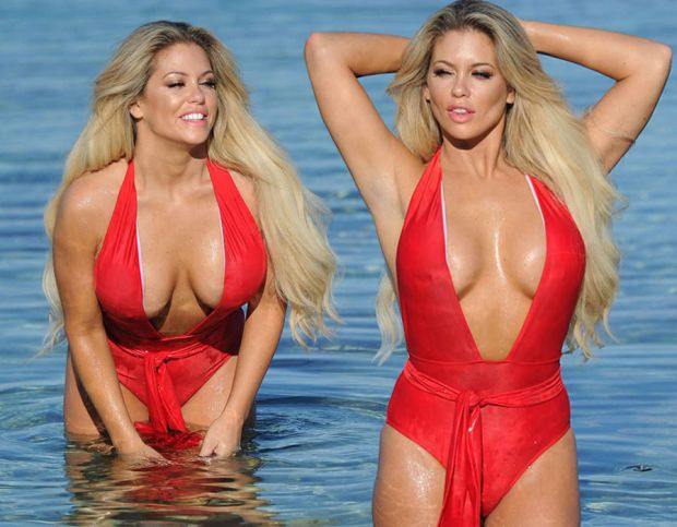 Bianca Gascoigne displays extreme cleavage as she squeezes assets into sexy red swimsuit