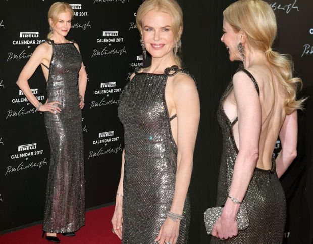 Nicole Kidman flashes major sideboob as she dazzles in stunning backless silver gown