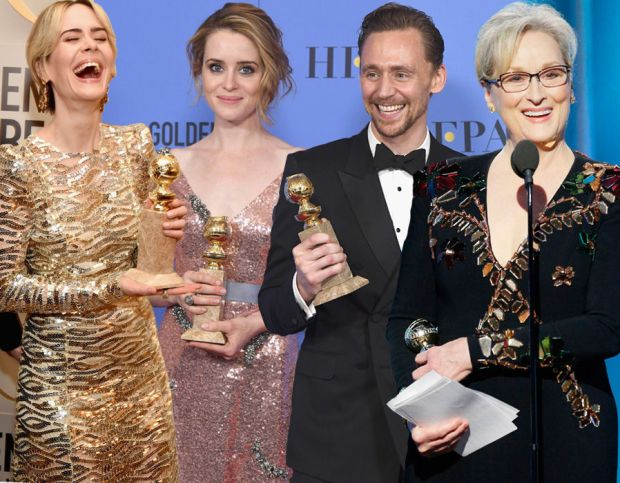 Golden Globes 2017: Sarah Paulson, Claire Foy, Tom Hiddleson & Meryl Streep all scoop awards
