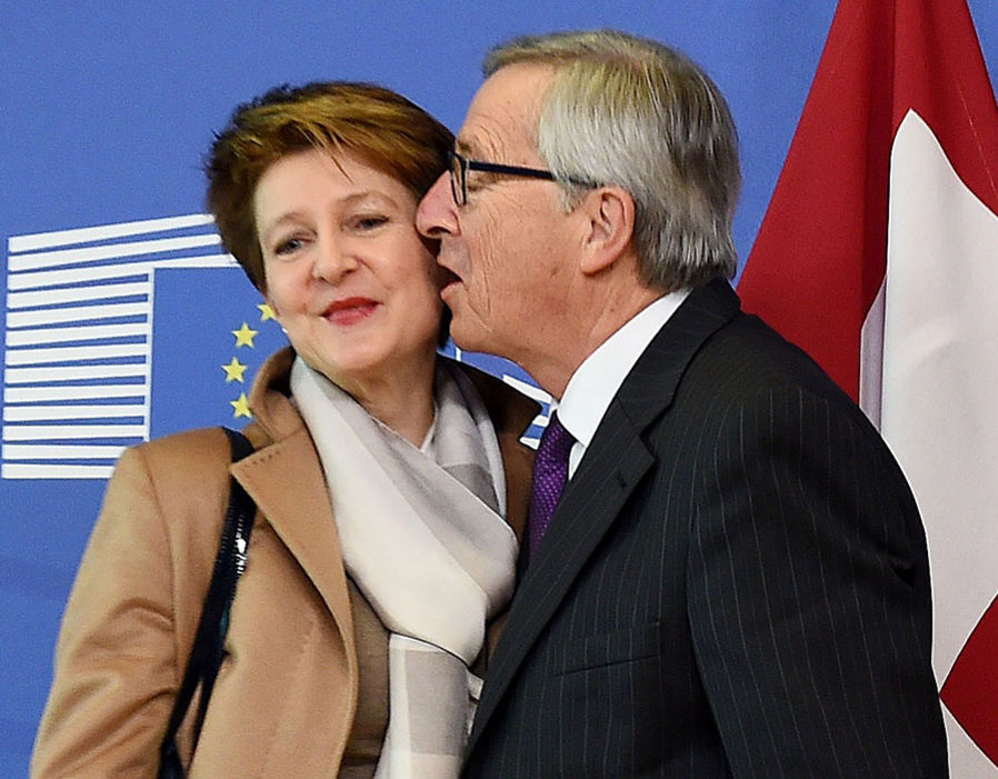 European Commission President Jean-Claude Juncker greets Switzerland President-elect Simonetta Sommaruga at the European Commission headquarters in Brussels