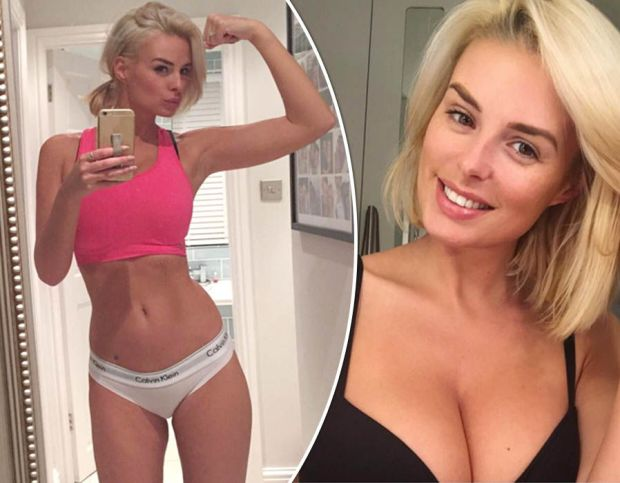Rhian Sugden showcases her washboard abs