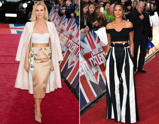 Amanda Holden and Alesha Dixon flash their abs at London auditions