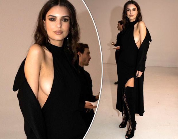 Emily Ratajkowski flaunts major sideboob as she pours curves into sexy cut-out dress