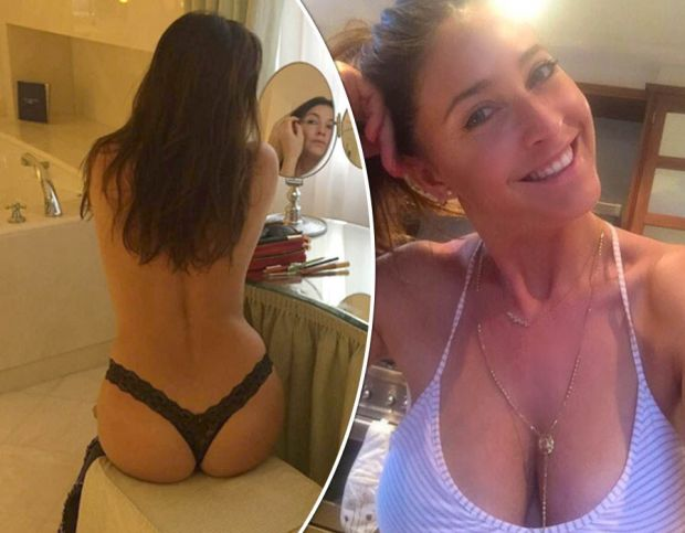 Lisa Snowdon strips off to reveal her pert bum in a sexy thong
