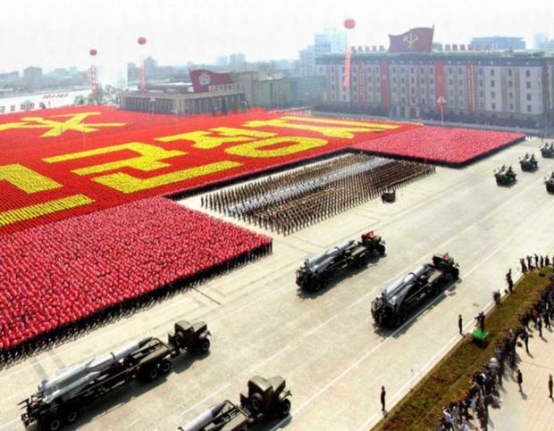 Rockets are carried by military vehicles during a military parade to celebrate the centenary of the birth of North Korea's founder Kim Il-sung in Pyongyang.