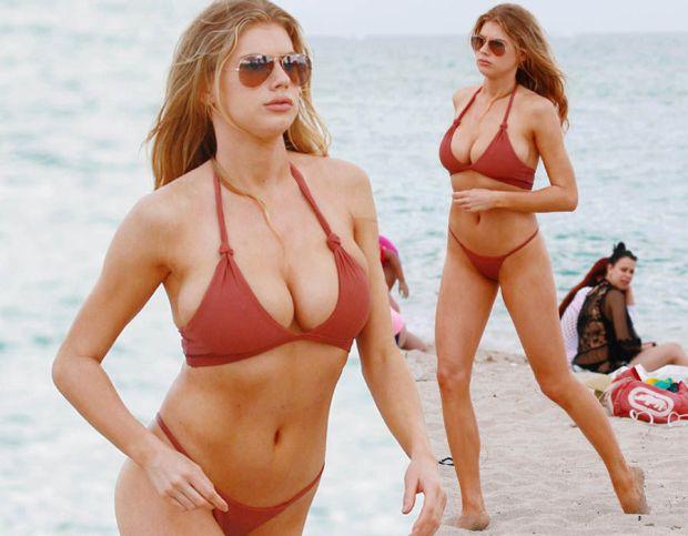 Charlotte McKinney flaunts extreme cleavage bikini