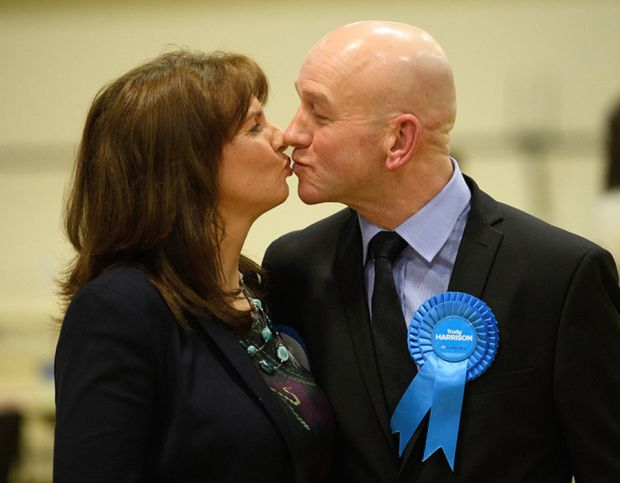 Conservative Party candidate Trudy Harrison (L) celebrates with her husband Keith after winning the Copeland by-election