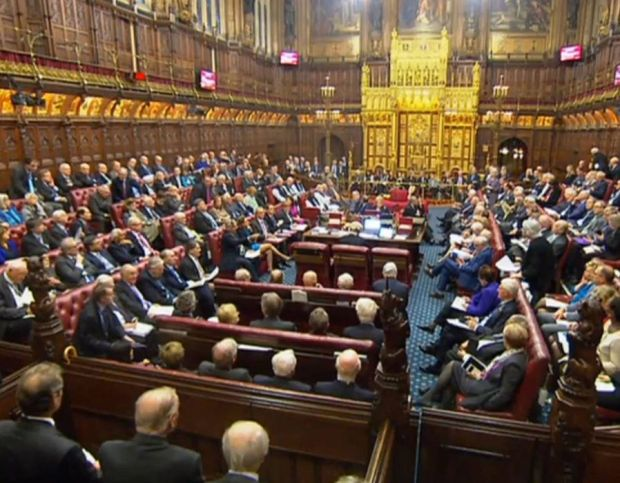 A packed House of Lords, London, as the Government is facing possible defeat in the House of Lords as peers push for guarantees over the rights of EU nationals living in the UK after Brexit