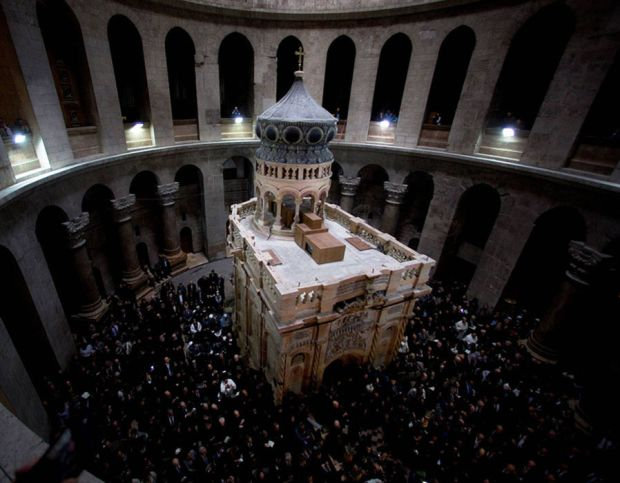 The restored Edicule is seen during a ceremony marking the end of restoration work on the site of Jesus's tomb, in the Church of the Holy Sepulchre, in Jerusalem's Old City