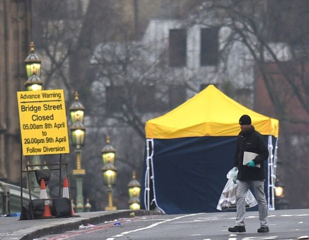 Police forensic tent on Westminster Bridge