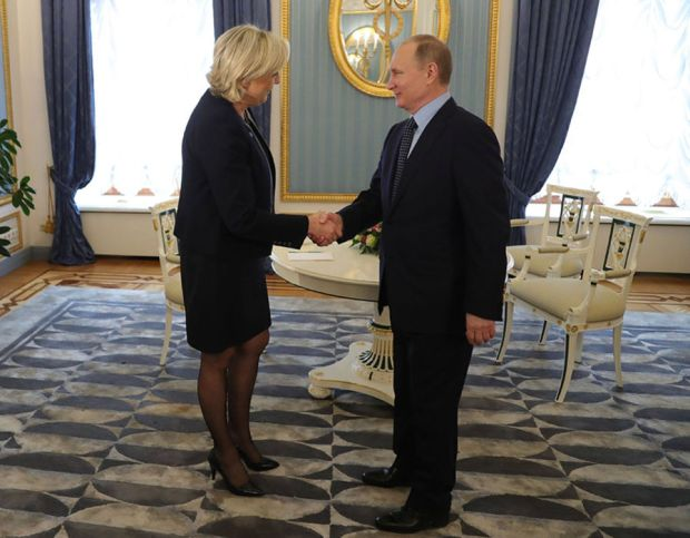Russian President Vladimir Putin meets with French presidential election candidate Marine Le Pen