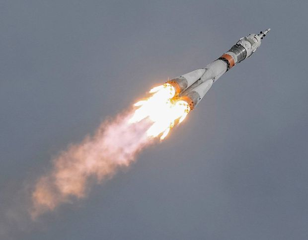 Soyuz MS-04 spacecraft carrying crew of US' Fischer and Yurchikhin of Russia blasts off to the ISS from launchpad at the Baikonur Cosmodrome